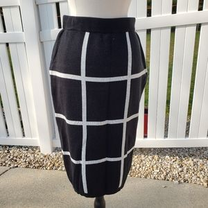NWT NY&CO black white windowpane knit midi skirt